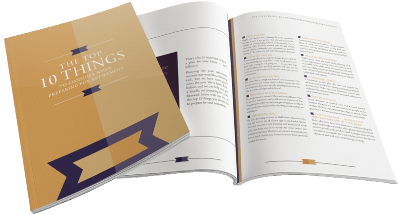 """This image displays the front cover and the contents of the Franklin Retirement retirement planning handout titled """"The Top 10 Things To Consider When Preparing For Retirement"""""""