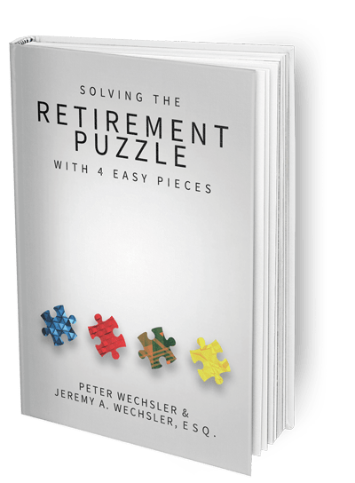 "A rendering of the Franklin Retirement Solutions book titled ""Solving The Retirement Puzzle With 4 Easy Pieces"""